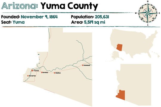 Large and detailed map of Yuma county in Arizona.