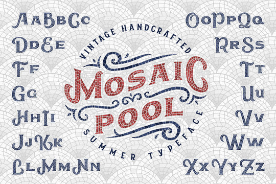 """Vintage handcrafted summer typeface """"Mosaic Pool"""" with seamless pattern tiles background"""