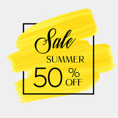 Summer sale 50% off sign over brush art paint abstract texture background acrylic stroke vector illustration. Perfect watercolor design discount for a shop and sale banners.