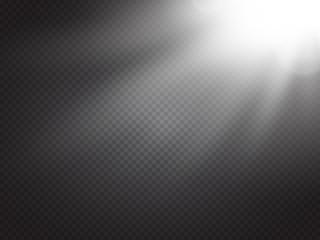 Obraz Lens flare light effect. Sun rays with beams isolated. Vector - fototapety do salonu