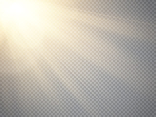 Sun isolated on transparent background. Vector illustration. Fototapete