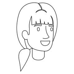 monochrome silhouette of woman face with ponytail hairstyle and bangs vector illustration