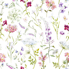Watercolor floral summer vector pattern