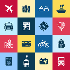 Digital vector red blue travel icons set with drawn simple line art info graphic poster promo, ship boat camera balloon luggage compass air plane map globe taxi card hotel bicycle free, flat style