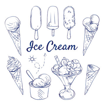 Doodle set of Ice cream - Soft ice, vanilla, chocolate, popsicle, sundae, cup, ice cream cone, hand-drawn. Vector sketch illustration isolated over white background.