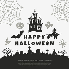 Digital vector black happy halloween icons with drawn simple line art info graphic, presentation with bats, cat and cemetery elements around promo template, flat style