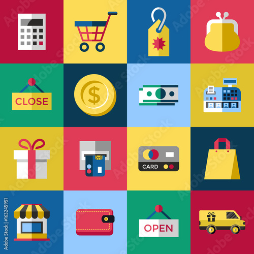 digital vector blue red shopping sale icons with drawn simple line