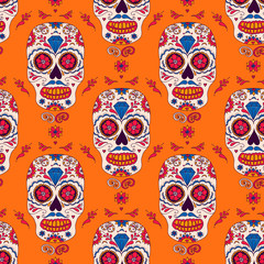 Hand drawn Mexican Day of The Dead seamless pattern. Vector colorful sugar skull with floral ornament.