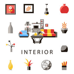 Digital vector yellow furniture icons with drawn simple line art info graphic, presentation with vase, flower, wardrobe, sofa and interior elements around promo template, flat style