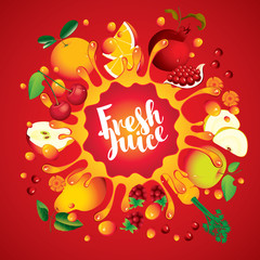 Vector banner with inscription fresh juice. Various fruits and berries, arranged in a circle and squirt juice on red background