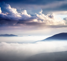 Wall Mural - Location place Carpathian, Ukraine, Europe. Dramatic and picturesque morning scene.