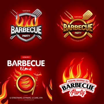 BBQ 4 colorful poster designs, party design, invitation, ad design. Barbecue logo. BBQ template menu design. Barbecue Food flyer. Barbecue advertisement.