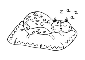 Cute sleeping cat with floral ornaments