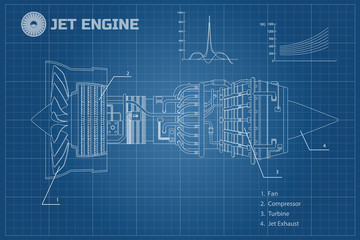 Jet engine in a outline style. Industrial vector blueprint. Part of the aircraft. Side view. Vector illustration