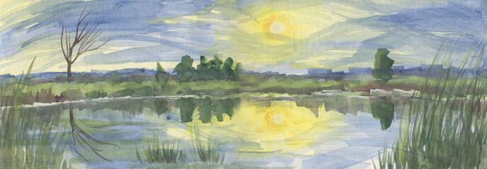 Sunset over the lake, panoramic summer landscape. Watercolor painting
