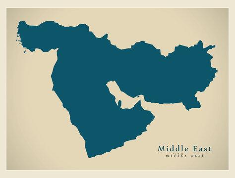 Modern Map - Middle East world region illustration