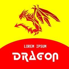 red tribal dragon vector illustration