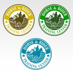 concept logo for horse training center or farm