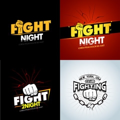 4 Modern professional fighting poster templates logo design with fist. Isolated vector illustrations.