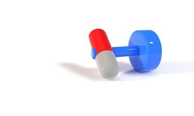 Dumbbell pill concept, 3d
