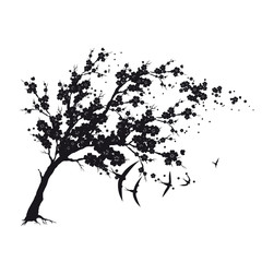 black silhouete,flowers tree , on a white