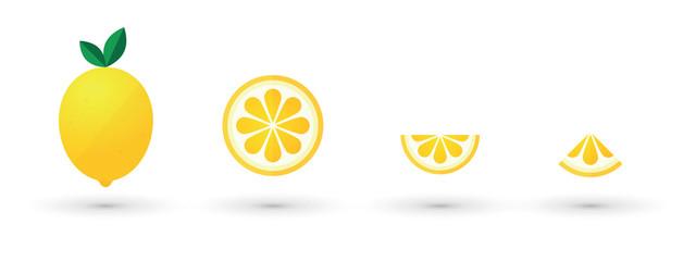 lemon fruit slice abstract icon set