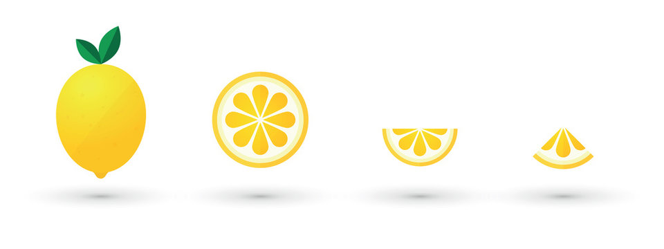 lemon fruit slice abstract icon set