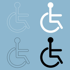 Sign of the disabled  the black and white color icon .