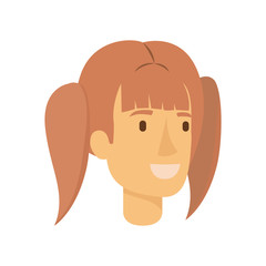 colorful silhouette of woman face with reddish hair and pigtails vector illustration