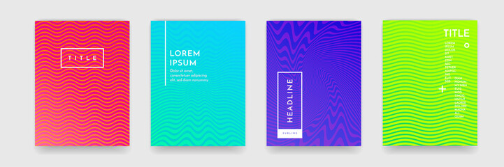 Wavy abstract pattern texture book brochure poster cover template vector set
