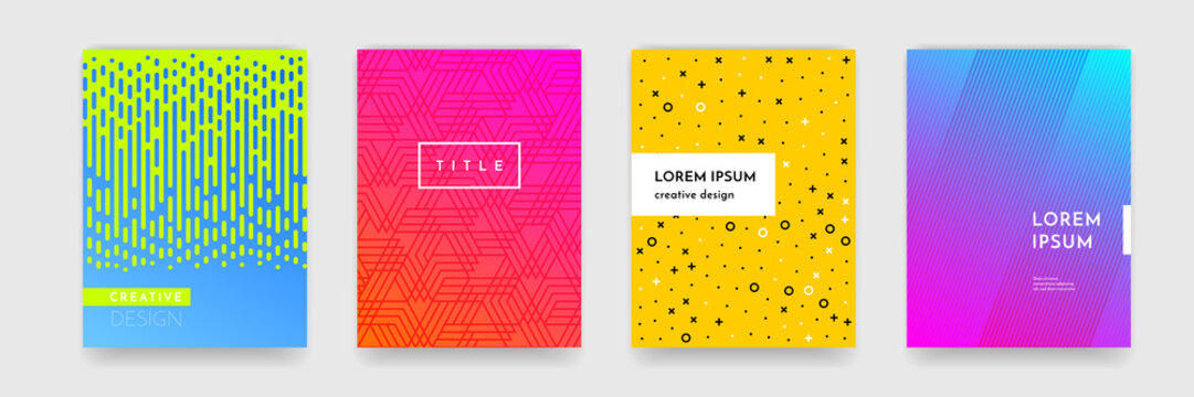 Color gradient abstract geometric pattern texture for book cover template vector set