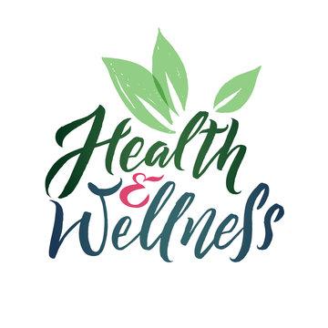 Health and Wellness Studio Vector Logo. Stroke Green Leaf Illustration. Brand Lettering