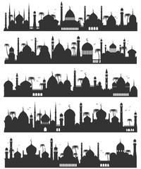 Islamic city skyline flat sketch