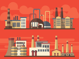 Flat industrial factory landsapes on bright background