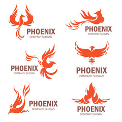 Phoenix company slogan flat set
