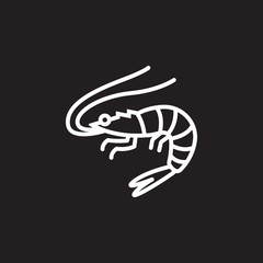 Shrimp, Prawn line icon, outline vector sign, linear pictogram isolated on black. logo illustration