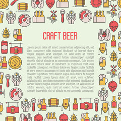 Beer concept with thin line icons for brewery and beer october festival. Modern vector illustration for banner, web page, print.