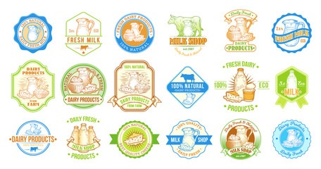 Big color set of vector illustrations, badges, stickers, labels, stamps for milk and dairy products for packaging, advertising and grocery stores