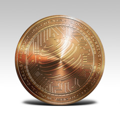 copper factom coin isolated on white background 3d rendering