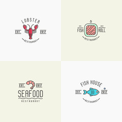 Four different styles for logo of fish or sushi restaurant with such elements as lobster, fish and shrimp. Thin line vector illustration.
