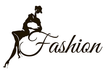Black and white fashion logo with woman model silhouette. Hand drawn vector illustration