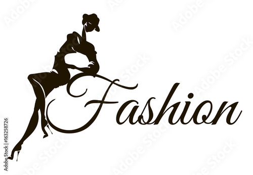 """Black and white fashion logo with woman model silhouette ..."