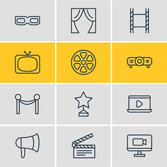 Vector Illustration Of 12 Movie Icons. Editable Pack Of Spectacles, Reward, Megaphone And Other Elements.