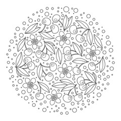 Circle ornament with artistically cherries in vector.