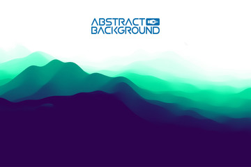 3D landscape Background. Purple Gradient Abstract Vector Illustration.Computer Art Design Template. Landscape with Mountain Peaks