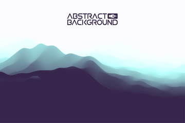 3D landscape Abstract blue Background. Blue Gradient Vector Illustration.Computer Art Design Template. Landscape with Mountain Peaks