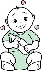 Baby with a bottle in his hands. Icon for baby food