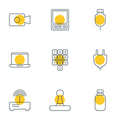 Vector Illustration Of 9 Notebook Icons. Editable Pack Of Flash Drive, Notebook, Socket And Other Elements.