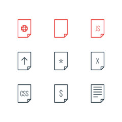 Vector Illustration Of 9 Paper Icons. Editable Pack Of Style, File, Remove And Other Elements.