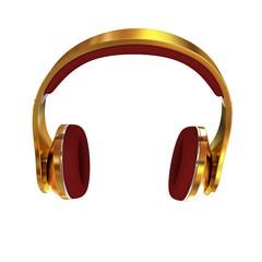 Golden headphones. 3d illustration
